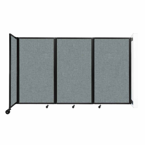 """Wall-Mounted Room Divider 360 Folding Partition 8'6"""" x 5' Sea Green Fabric"""