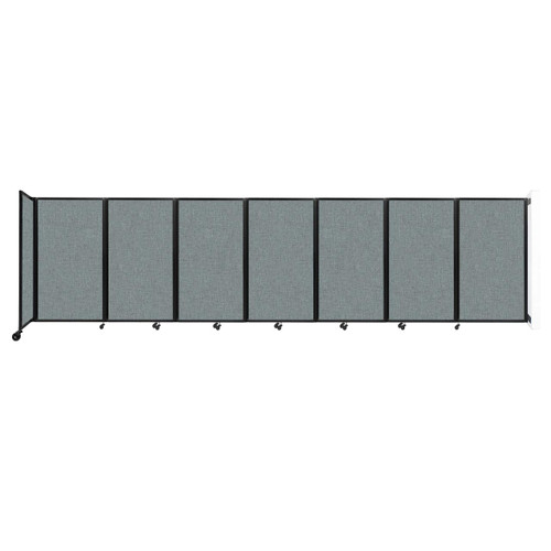 """Wall-Mounted Room Divider 360 Folding Partition 19'6"""" x 5' Sea Green Fabric"""