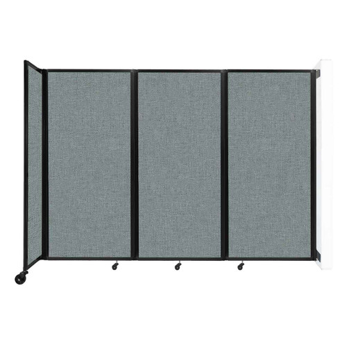 """Wall-Mounted Room Divider 360 Folding Partition 8'6"""" x 6' Sea Green Fabric"""