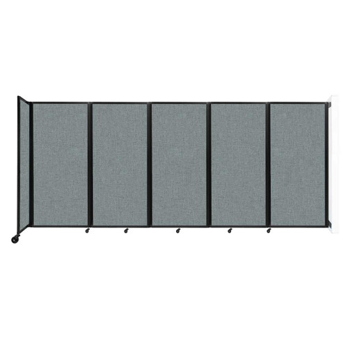 Wall-Mounted Room Divider 360 Folding Partition 14' x 6' Sea Green Fabric