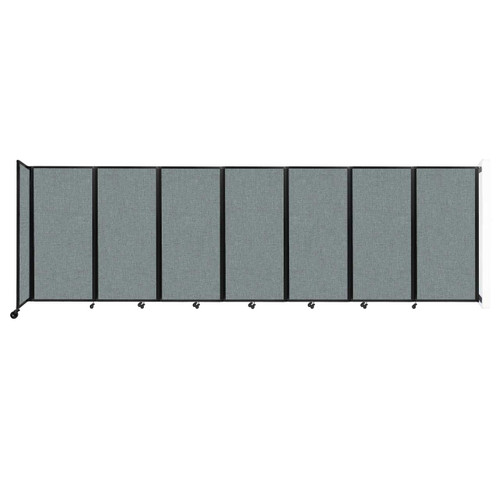 """Wall-Mounted Room Divider 360 Folding Partition 19'6"""" x 6' Sea Green Fabric"""