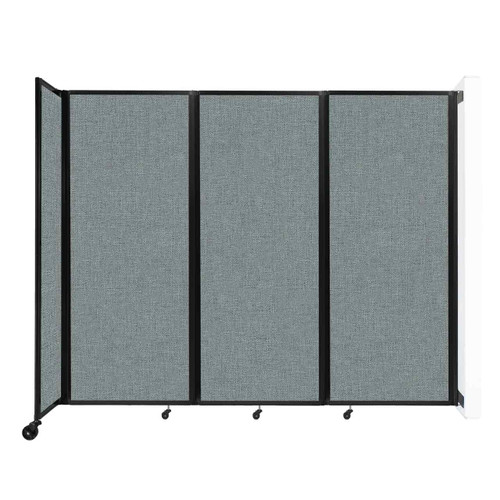 """Wall-Mounted Room Divider 360 Folding Partition 8'6"""" x 6'10"""" Sea Green Fabric"""