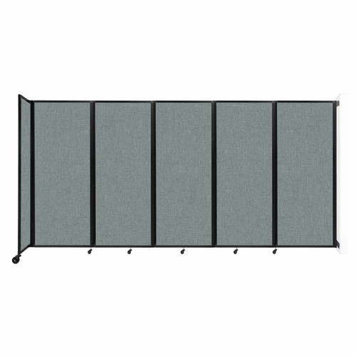 """Wall-Mounted Room Divider 360 Folding Partition 14' x 6'10"""" Sea Green Fabric"""