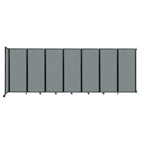 """Wall-Mounted Room Divider 360 Folding Partition 19'6"""" x 6'10"""" Sea Green Fabric"""