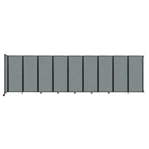 """Wall-Mounted Room Divider 360 Folding Partition 25' x 6'10"""" Sea Green Fabric"""