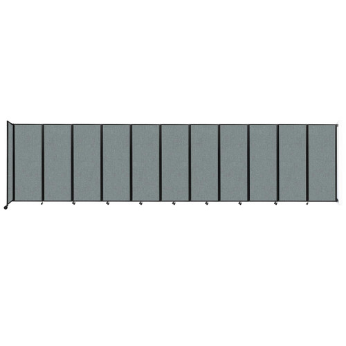 """Wall-Mounted Room Divider 360 Folding Partition 30'6"""" x 7'6"""" Sea Green Fabric"""
