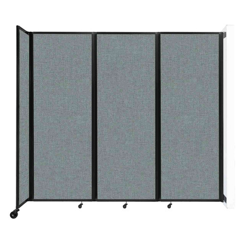 """Wall-Mounted Room Divider 360 Folding Partition 8'6"""" x 7'6"""" Sea Green Fabric"""