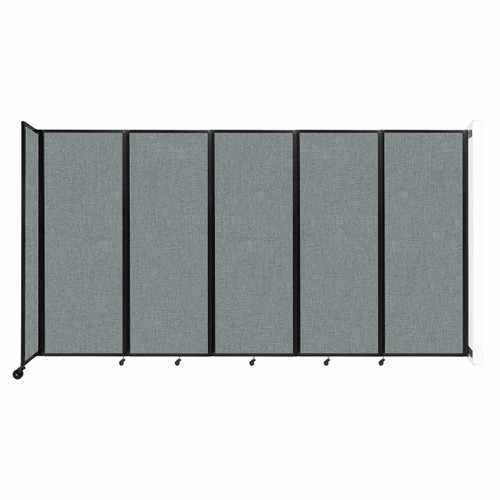 """Wall-Mounted Room Divider 360 Folding Partition 14' x 7'6"""" Sea Green Fabric"""