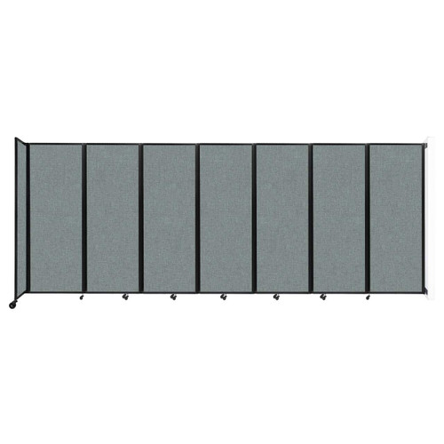 """Wall-Mounted Room Divider 360 Folding Partition 19'6"""" x 7'6"""" Sea Green Fabric"""