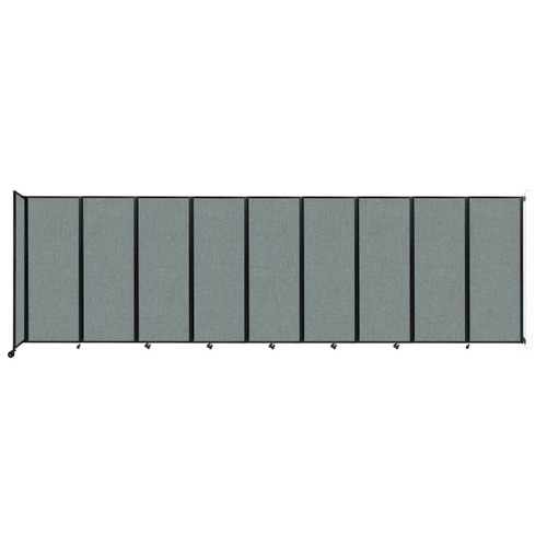 """Wall-Mounted Room Divider 360 Folding Partition 25' x 7'6"""" Sea Green Fabric"""