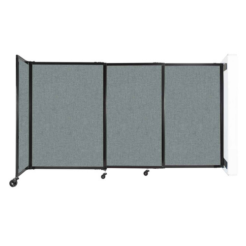 """Wall-Mounted StraightWall Sliding Partition 7'2"""" x 4' Sea Green Fabric"""