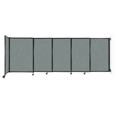 """Wall-Mounted StraightWall Sliding Partition 11'3"""" x 4' Sea Green Fabric"""