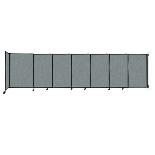 """Wall-Mounted StraightWall Sliding Partition 15'6"""" x 4' Sea Green Fabric"""