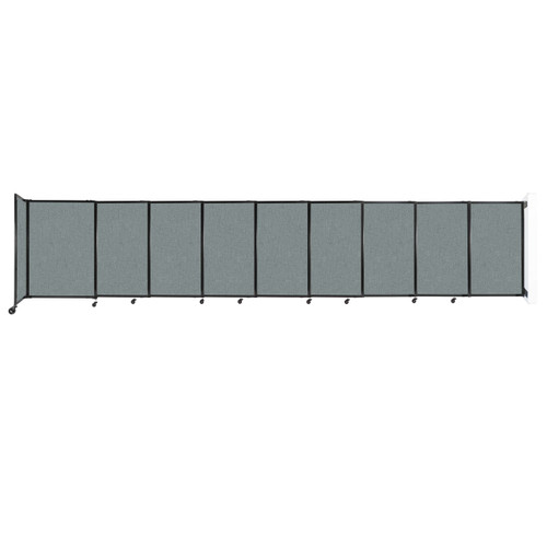 """Wall-Mounted StraightWall Sliding Partition 19'9"""" x 4' Sea Green Fabric"""