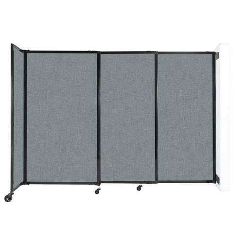"""Wall-Mounted StraightWall Sliding Partition 7'2"""" x 5' Sea Green Fabric"""