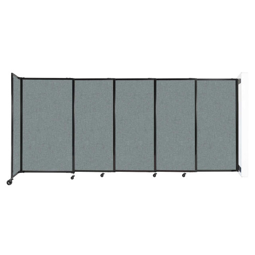 """Wall-Mounted StraightWall Sliding Partition 11'3"""" x 5' Sea Green Fabric"""