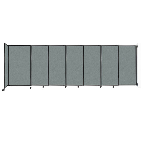 """Wall-Mounted StraightWall Sliding Partition 15'6"""" x 5' Sea Green Fabric"""