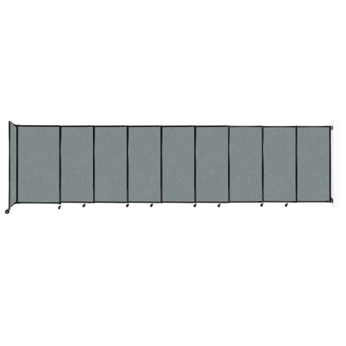 """Wall-Mounted StraightWall Sliding Partition 19'9"""" x 5' Sea Green Fabric"""