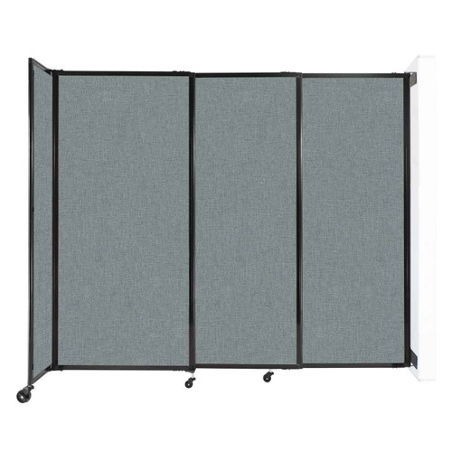 """Wall-Mounted StraightWall Sliding Partition 7'2"""" x 6' Sea Green Fabric"""