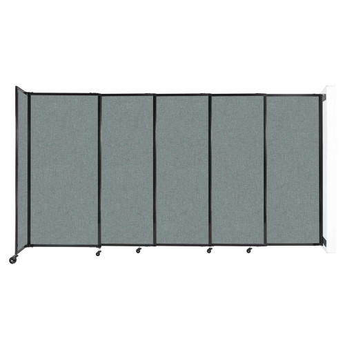 """Wall-Mounted StraightWall Sliding Partition 11'3"""" x 6' Sea Green Fabric"""