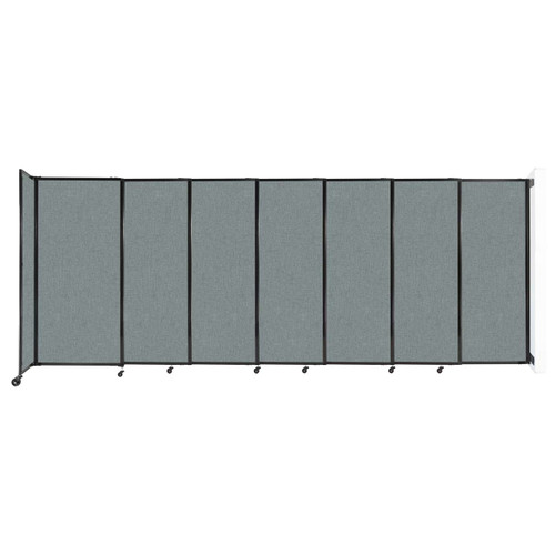 """Wall-Mounted StraightWall Sliding Partition 15'6"""" x 6' Sea Green Fabric"""