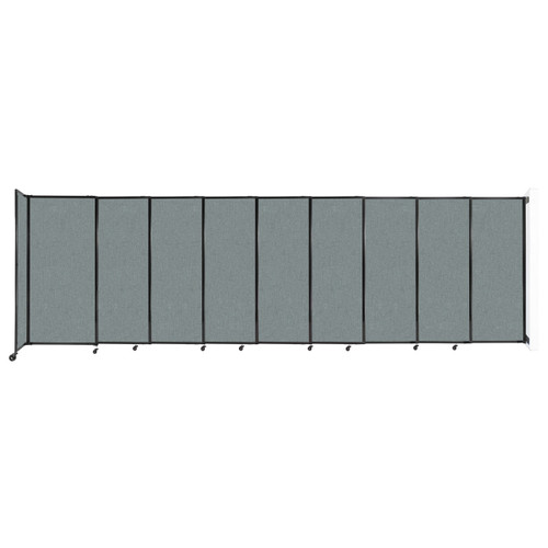 """Wall-Mounted StraightWall Sliding Partition 19'9"""" x 6' Sea Green Fabric"""