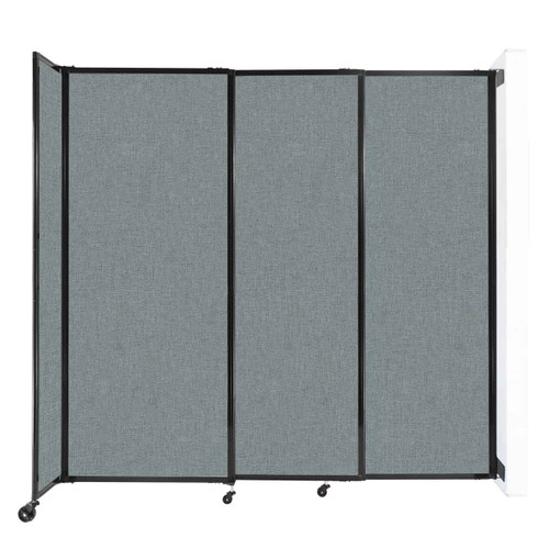 """Wall-Mounted StraightWall Sliding Partition 7'2"""" x 6'10"""" Sea Green Fabric"""