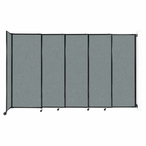 """Wall-Mounted StraightWall Sliding Partition 11'3"""" x 6'10"""" Sea Green Fabric"""