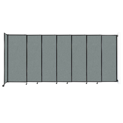 """Wall-Mounted StraightWall Sliding Partition 15'6"""" x 6'10"""" Sea Green Fabric"""
