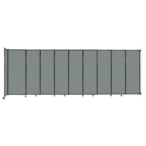 """Wall-Mounted StraightWall Sliding Partition 19'9"""" x 6'10"""" Sea Green Fabric"""