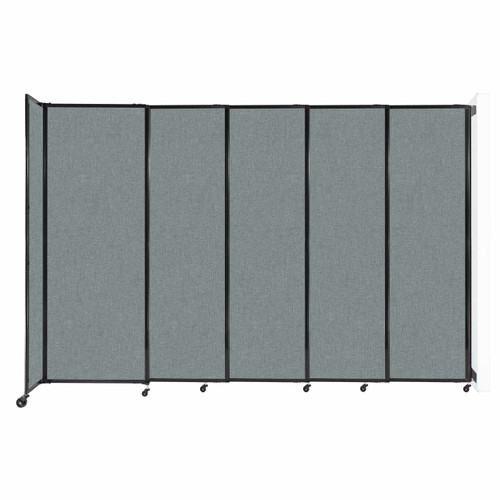 """Wall-Mounted StraightWall Sliding Partition 11'3"""" x 7'6"""" Sea Green Fabric"""