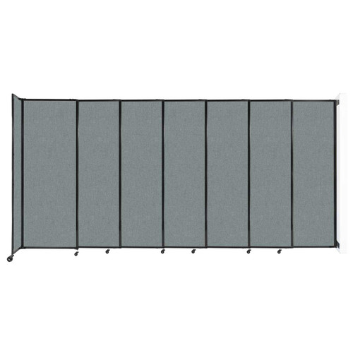 """Wall-Mounted StraightWall Sliding Partition 15'6"""" x 7'6"""" Sea Green Fabric"""
