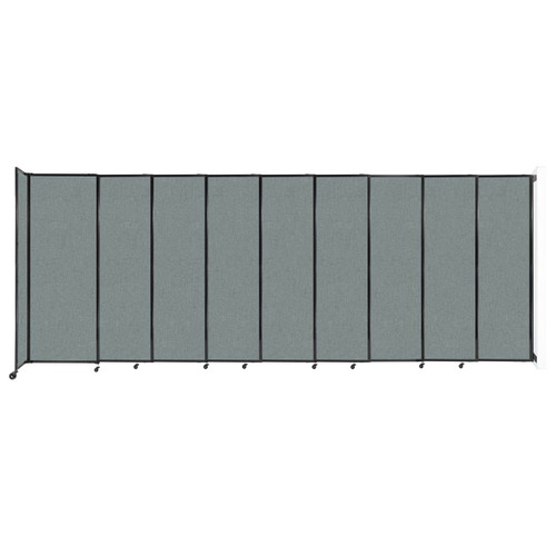 """Wall-Mounted StraightWall Sliding Partition 19'9"""" x 7'6"""" Sea Green Fabric"""