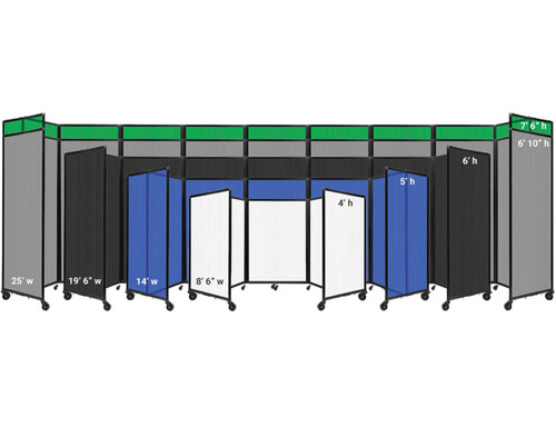 The widths and heights of the Polycarbonate Room Divider 360