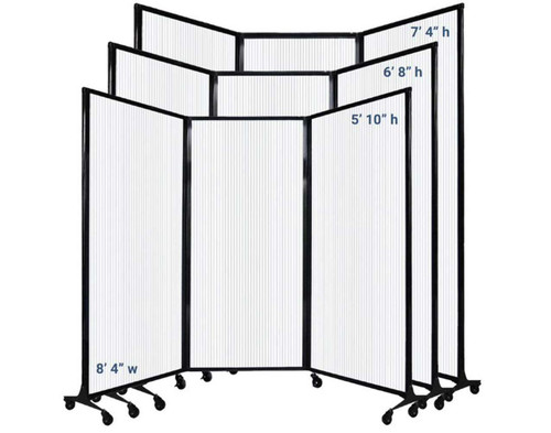 The MediWall Folding Partition comes in 1 width and 3 heights.