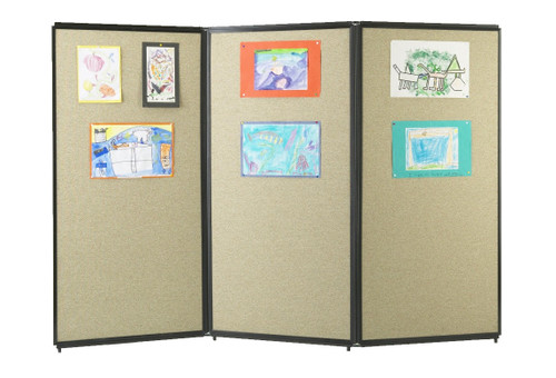 The tackable acoustic fabric allows for artwork, notes and messages to be posted with pushpins.
