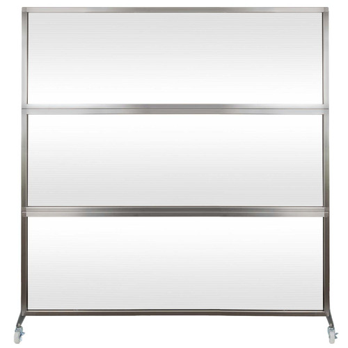 MediPanel Portable Divider 6' x 6' Opal Fluted Window With Wheels