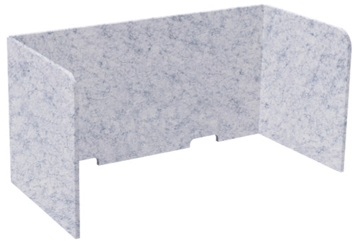 "SoundSorb Tri-Fold Desktop Privacy Panels 48"" x 24"" x 24"" Marble Gray High Density Polyester"
