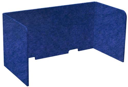 "SoundSorb Tri-Fold Desktop Privacy Panels 48"" x 24"" x 24"" Blue High Density Polyester"