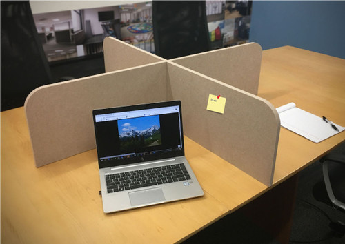 The SoundSorb X-Fit Desktop Privacy Panel can be used on any countertop surface!