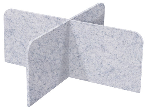 "SoundSorb X-Fit Desktop Privacy Panels 48"" x 24"" High Density Polyester Marble Gray"