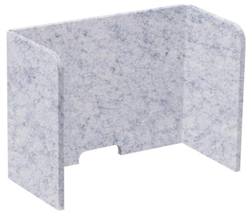 "SoundSorb Tri-Fold Desktop Privacy Panels 24"" x 18"" x 12"" Marble Gray High Density Polyester"
