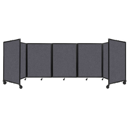 SoundSorb Room Divider 360 Folding Partition 14' x 4' Dark Gray High Density Polyester