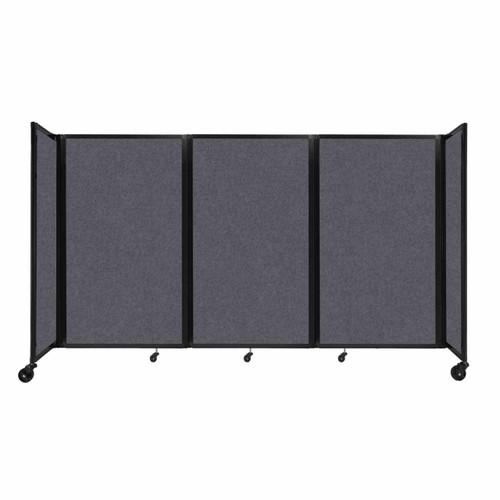 "SoundSorb Room Divider 360 Folding Partition 8'6"" x 5' Dark Gray High Density Polyester"
