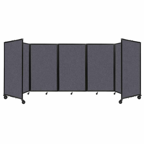 SoundSorb Room Divider 360 Folding Partition 14' x 5' Dark Gray High Density Polyester