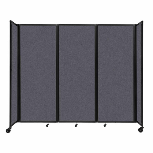 "SoundSorb Room Divider 360 Folding Partition 8'6"" x 7'6"" Dark Gray High Density Polyester"