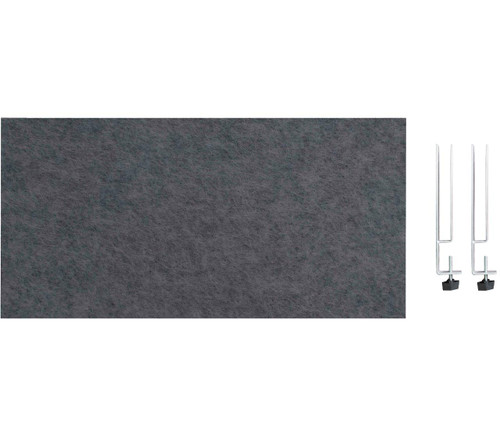 "SoundSorb Desktop Privacy Panels 24"" x 12"" Dark Gray High Density Polyester Edge Clip"