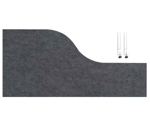 "SoundSorb Desktop Privacy Panels 48"" x 12""-24"" Wave Dark Gray High Density Polyester Edge Clip"