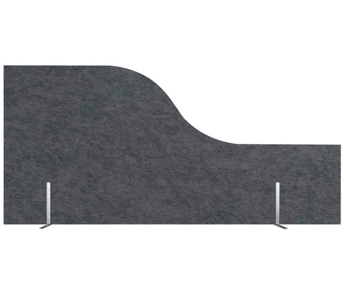 "SoundSorb Desktop Privacy Panels 48"" x 12""-24"" Wave Dark Gray High Density Polyester Freestanding"