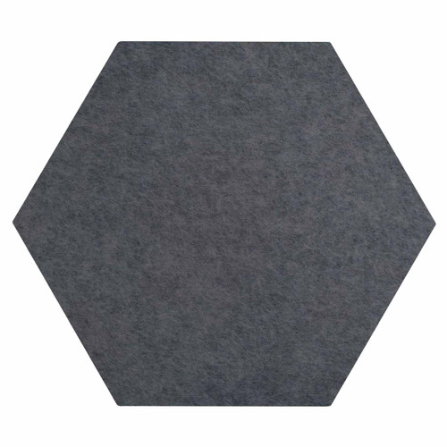 """Wall-Mounted SoundSorb Acoustic Panels 12"""" Hexagon Flat Dark Gray High Density Polyester"""